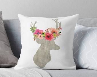 Throw Pillow - Deer Pillow - Decorative Pillow - Deer Decor - Decorative Cushion  - Animal Pillow - Cushion Cover - Deer Cushion