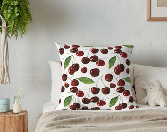 Cherry throw pillow , throw pillow , decorative pillow , pillow cover , cherry blossom , throw pillow cover , accent pillow , cherry , fruit