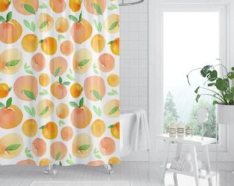 Peach Shower Curtain Bathroom Decor Curtains Home Bath Fruit