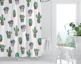 Cactus Shower Curtain Bathroom Decor Succulent Plant
