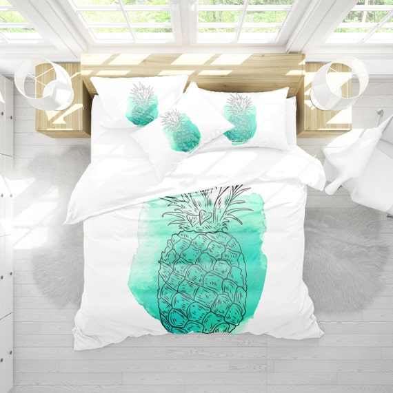 Housse De Couette Turquoise Ananas Ananas Couette Literie Etsy