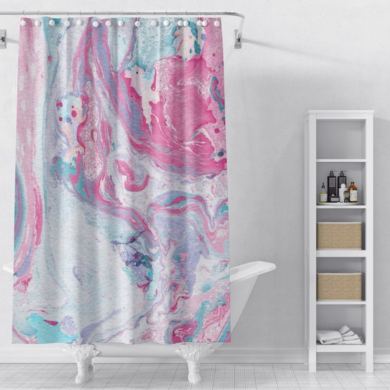 Pink Marble Shower Curtain Shower Curtain Bathroom Decor Etsy