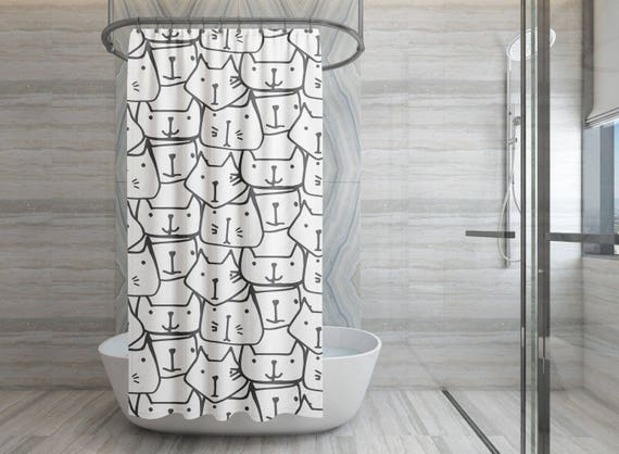 Black and White Cats Shower Curtain , Shower Curtain , Shower Curtain Design , Bath Curtain , Bathroom Decor , Bathroom Curtain , Dorm , cat