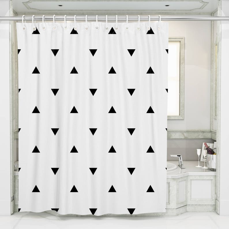 Geometric Shower Curtain Black White