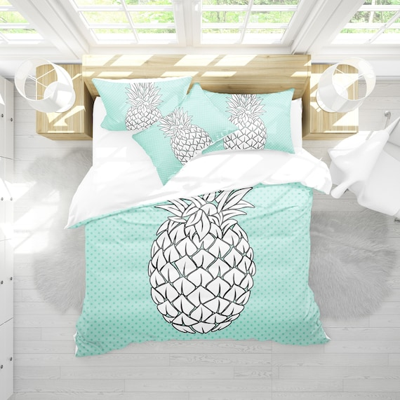 Housse De Couette Turquoise Ananas Ananas Literie Literie Etsy