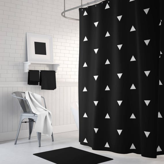 Geometric Shower Curtain Black White Cool