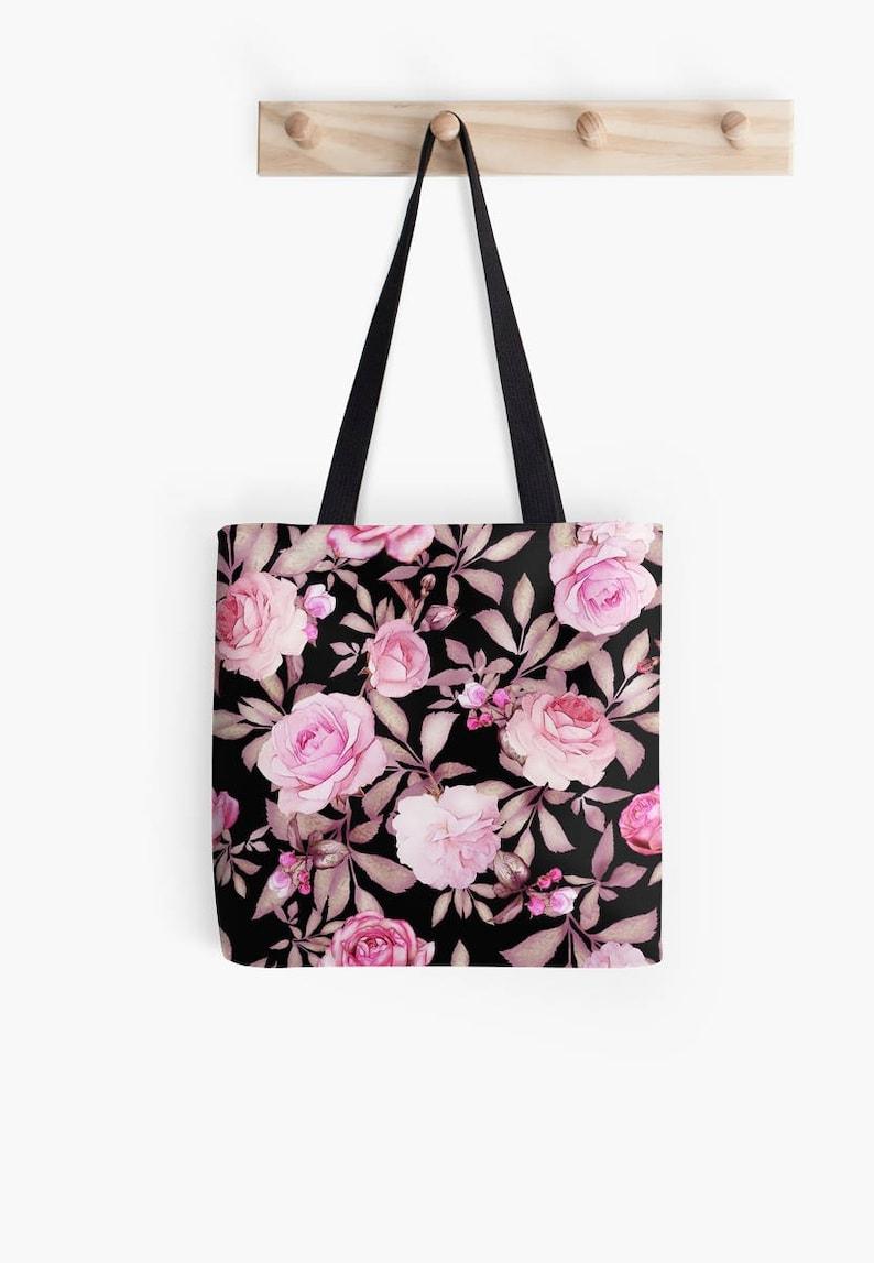 Roses Tote bag Market Tote Beach Bag Decorative Tote Bag Rose Personalized Shopping Bag Tote bag Floral Red Flowers