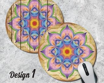Chakra Mandala Mousepad, Spiritual Mouse Pad, Geometric Mouse Pad, Vintage Mousepad, Round Pad, Office Decor, Desk Accessorry, Five Designs