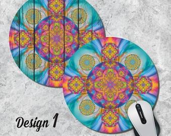 Kaleidoscope Mandala Mousepad, Colorful Mouse Pad, Geometric Mouse Pad, Round Mousepad, Office Decor, Desk Accessory, Five Different Designs