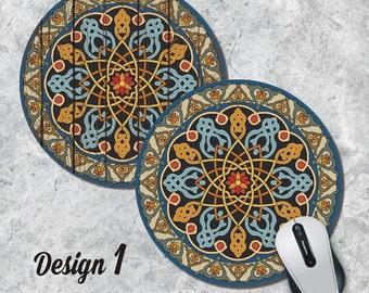 Mandala Mousepad, Oriental Mouse Pad, Geometric Mouse Pad, Vintage Mousepad, Round Mouse Pad, Office Decor, Desk Accessorry, Five Designs