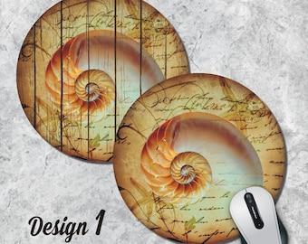 Nautilus Mousepad, Seashell Mouse Pad, Seahorse Mouse Pad, Sealife, Vintage Mousepad, Round Pad, Office Decor, Desk Accessorry, Five Designs