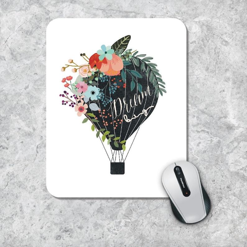 Dream Big Mouse Pad Office Decor Quote Mousepad Floral Mousepad Watercolor Mousepad Round Pad Hot Air Balloon Mousepad Desk Accessory