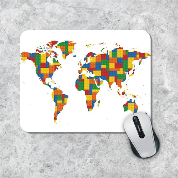 World Map Mouse Pad Etsy