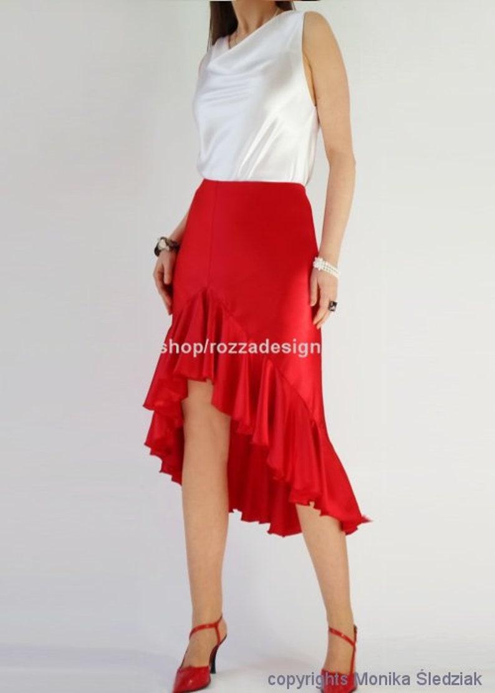 66af280bf860 Asymmetric silk-satin skirt with ruffles custom high low l 12 | Etsy