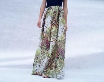 summer maxi skirt, silk and cotton, lawn silk, batiste, pleated maxi skirt, printed skirt,long silk skirt,custom
