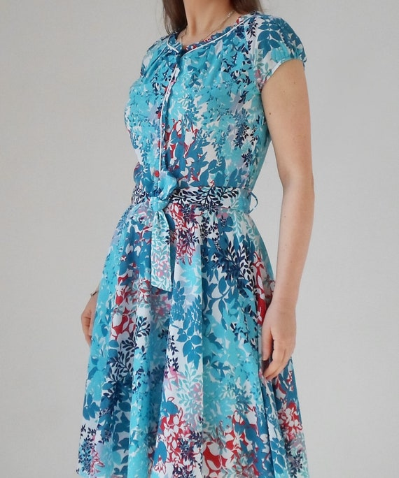 long sleeves dress full swing summer flowers blue tied summer floral dress belt circle short wg6qI4
