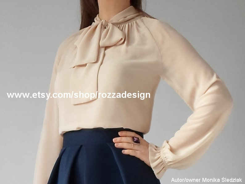 2f5903ad326 Tie-neck blouse beige chiffon top pussy bow sheer long