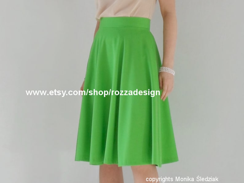 ba6c70a1e90209 A-line midi skirt with pockets bright green skater custom   Etsy