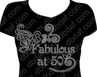 "New Custom ""Fabulous at 50"" Rhinestone Design"
