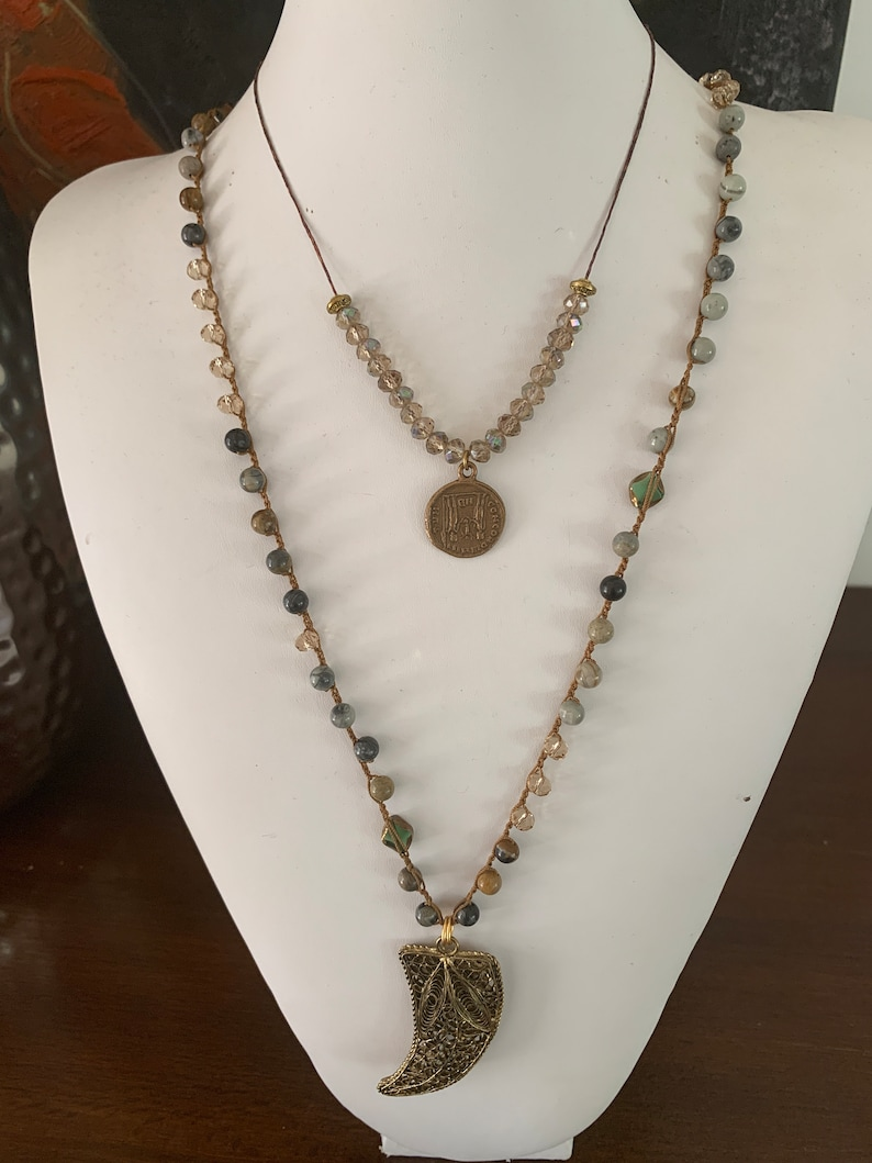 Brass coin and crystals necklace