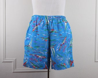 b657f2d7a1 sailboats + swordfish + palm trees, oh my! 1980s swim long cotton swim  trunks / board shorts - blue, purple, red, green - vintage sz large