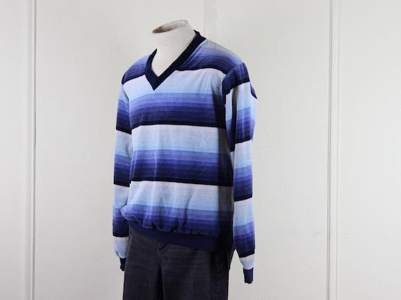 1970s men's velour v neck striped shirt - DAMON -… - image 6