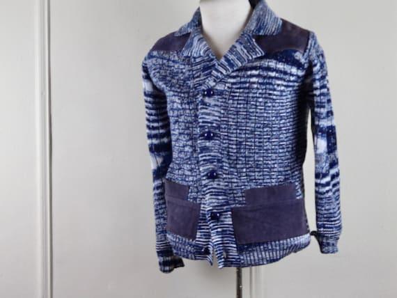 1970s blue knit + suede jacket - men's cardigan, c