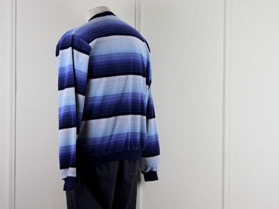 1970s men's velour v neck striped shirt - DAMON -… - image 9