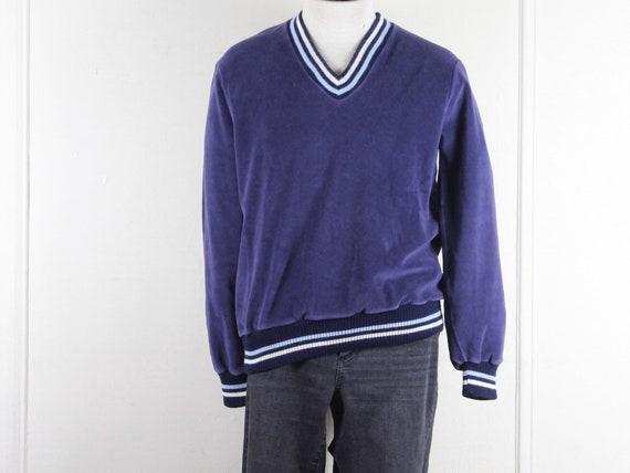 1970s men's v neck velour sweater - DIMENSION - bl
