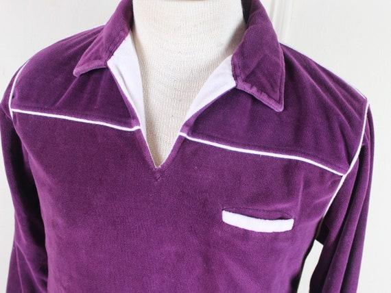 1970s men's velour pullover shirt - plum, wine, bu