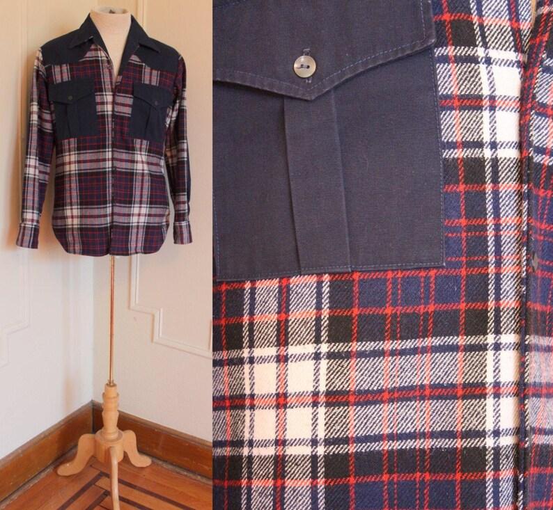 1970er Jahre Herren Blau, Rost und Senf kariertes Hemd Taste nach oben, Western, Holzfäller, Wald Vintage Größe 16 12, 34 35, große