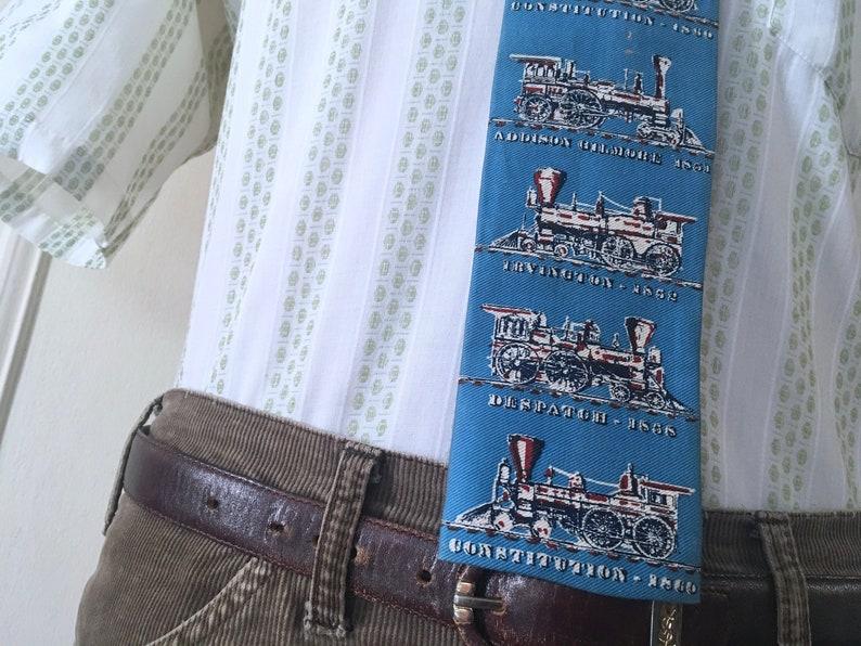 etc Despatch historic locomotives the blue train 1960s MOD flat bottom cotton necktie by Rooster vintage trunk tie Constitution