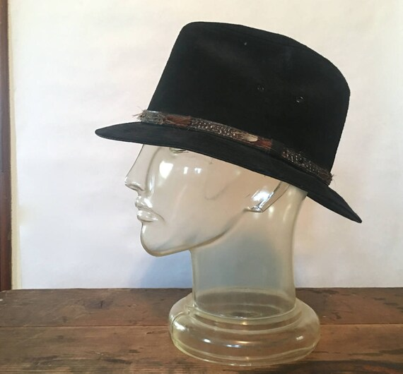 black suede western fedora with feathers band vintage LEE  bdb7c45dc2b