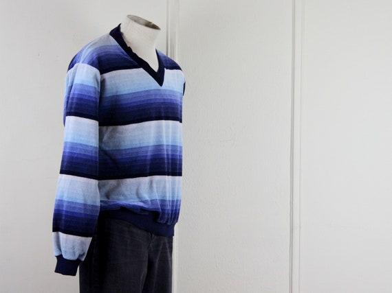 1970s men's velour v neck striped shirt - DAMON -… - image 8