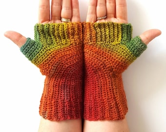 OOAK Luxury Handspun Fingerless Gloves - Winter Gloves Women's Gloves Gradient Gloves