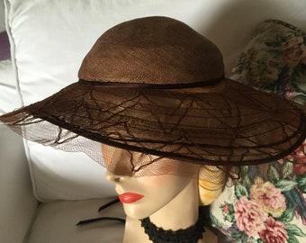 Vintage 1920's~1930's~1940's Wide Brim Light Brown Summer Straw Weave Derby~ Horse Race Hat