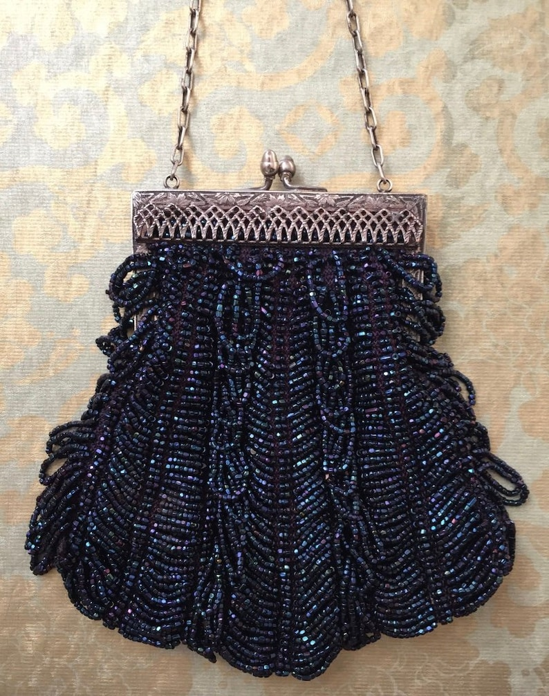 Buy Cheap Antique Crochet Purple Iridescent Bead Ball Tassel Chain Handle Flapper Purse Periods & Styles Clothing, Shoes & Accessories