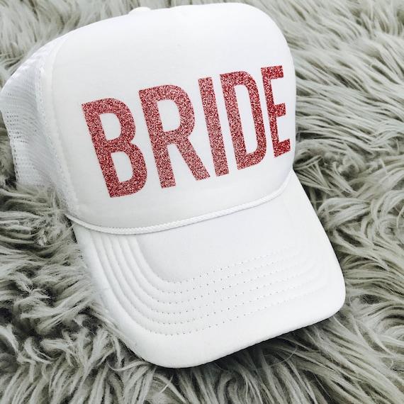 Bachelorette Hat / BRIDE Pink Glitter Trucker Hat / Bachelorette Party Hats / Brides Gift / Bride Squad hats / Bride Tribe hats