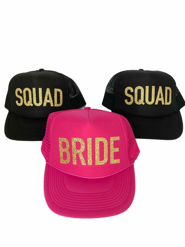 Bachelorette Party #VACAY, TRIBE, BRIDE, Squad Gold Glitter Trucker Hat Neon colors // Bridal Shower, Bride to be, bride tribe