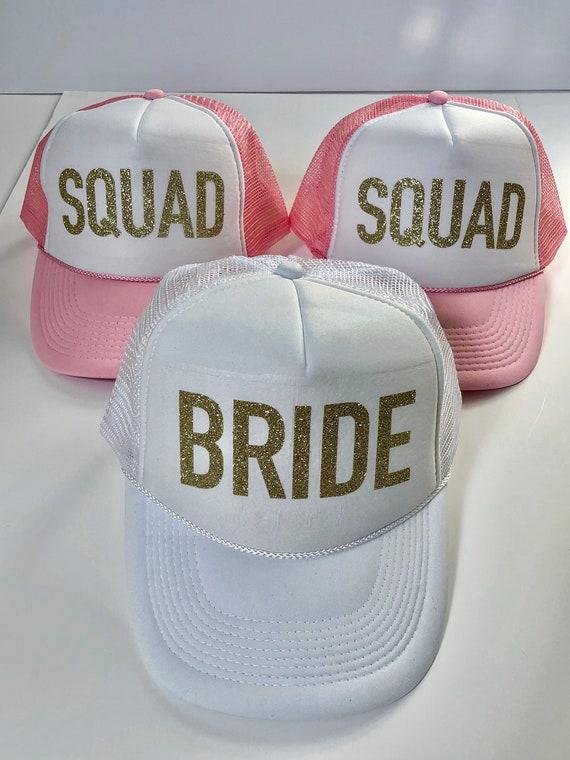 Bachelorette Party SQUAD Glitter Hats / Bride Squad Hats, #VACAY BRIDE Squad Tribe Gold Glitter Trucker Hats