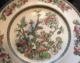 Set of Eight Dinner Plates Indian Tree pattern made by Johnson Brothers Vintage