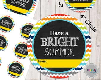 INSTANT DOWNLOAD - Bright Summer Gift Tag Printable - HT-EOY004 - End of the year, schools out, student gift, teacher