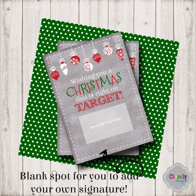 Target Christmas Gift Card Printable INSTANT DOWNLOAD