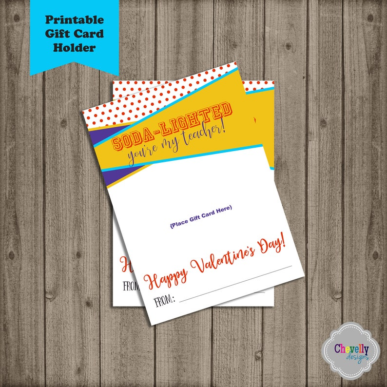 picture relating to Sonic Gift Card Printable called Immediate Down load - SODA Instructor Valentine Present Card Printable - Val016 - present card holder, reward principle, valentine card, sonic, soda lighted