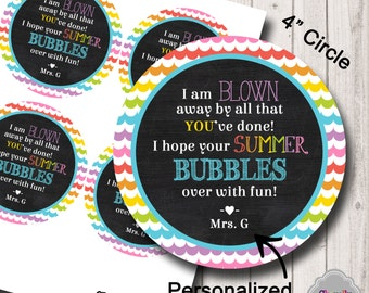 End of School Bubble Gift Tag Printable - HT-EOY002 - Personalized - End of the year, schools out, student gift, teacher