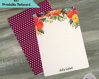 Printable Watercolor Floral Notecard - personalized, diy, stationary, 5x7, thank you, NC006