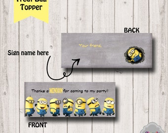 Minion Treat Bag Toppers - INSTANT DOWNLOAD -  Printable - BT010, goodie bag topper, party favor