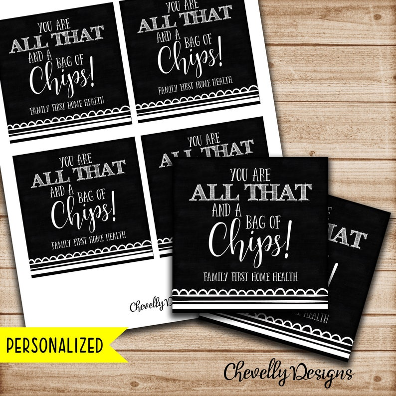 graphic regarding All That and a Bag of Chips Printable known as Tailored - All That and a Bag of Chips Present Tag Instructor, manager, coworker, pal, staff members Appreciation electronic printable TA008