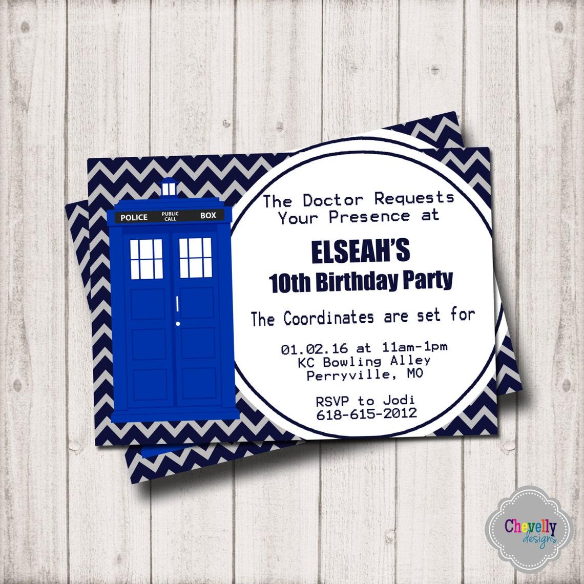 Doctor Who Birthday Invitation - Printable