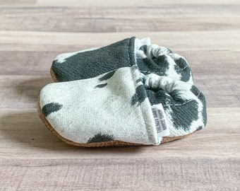 Trendy Baby Moccasins - Faux Dairy Cow